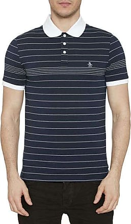Original Penguin Engineered Fine Stripe Polo Shirt Dunkler Saphir - cotton | xl