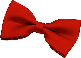 Retreez Mens Solid Plain Color Woven Microfiber Pre-tied Bow Tie (5) - Red