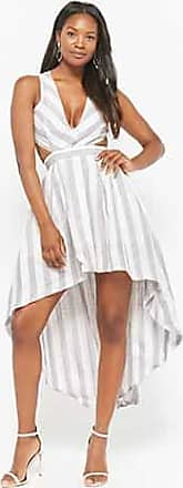 Forever 21 Forever 21 Striped High-Low Linen Dress Grey