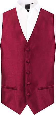 Dobell Mens Burgundy Waistcoat Regular Fit Dupion 5 Button-S (34-36in)