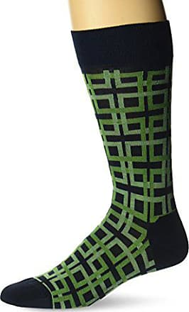Ozone Mens Interlocking Squares Sock, Green, 10-13