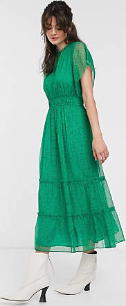 Whistles sketched floral frill sleeve midi dress in green