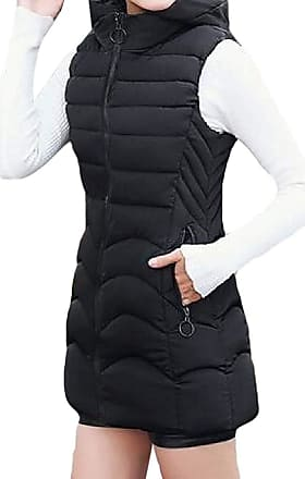 VITryst Womens Warm Sleeveless Down Coat with Hood Mid Length Quilted Jacket Vest Tops,Black,XX-Large