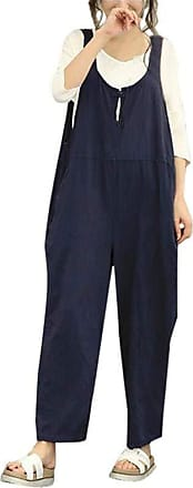 JERFER Women Sleeveless Dungarees Loose Cotton Long Playsuit Jumpsuit Pants Trousers (Navy, 2X-Large)