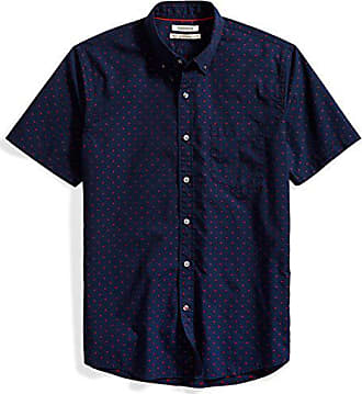 Goodthreads Mens Standard-Fit Short-Sleeve Dobby Shirt, Navy/red, Small