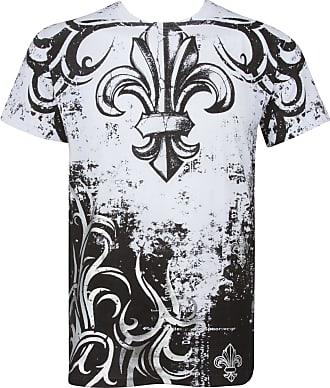 Sakkas BranchesFleur227 Fleur de Lis Tree Branches Metallic Silver Embossed Short Sleeve Crew Neck Cotton Mens Fashion T-Shirt - White/XX-Large