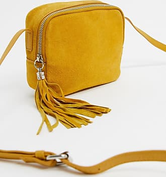 Warehouse suede camera bag in yellow