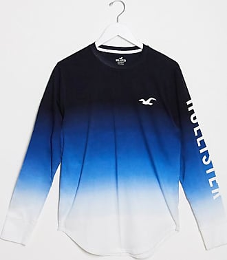 Hollister ombre logo long sleeve top in blue