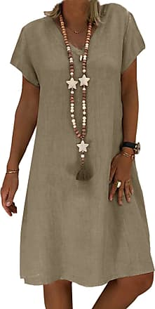 Yidarton Womens V Neck Summer Dress Short Sleeve Casual Midi Dress Chic Vintage Ethnic Sundress Solid Color Loose Linen Dress Without Accessories (Brown, 2XL)
