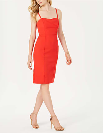 Vince Camuto Womens Red Spaghetti Strap Square Neck Below The Knee Body Con Cocktail Dress Size: 10
