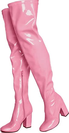 Vimisaoi Womens Fluorescent Thigh-high Boots, High Chunky Heel Round Toe Glitter Dress Over-The-Knee Boots Pink