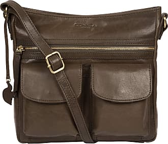 Pure Luxuries London Conkca London Bon Womens 26cm Biodegradable Leather Cross Body Bag with Zip Over Top, 100% Cotton Lining and Adjustable Slimline Leather Strap in Oliv