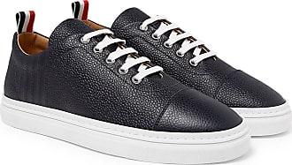 Thom Browne Pebble-grain Leather Sneakers - Navy