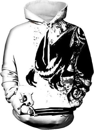 Ocean Plus Mens Digital Print Long Sleeve Hoody Hoodie Fun Halloween Cosplay Sweatshirt Hooded Sweat Unique Galaxy Pullover (XXL/3XL (Chest: 126-146CM), Cubone)