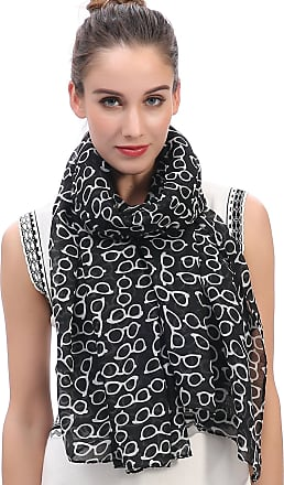 Lina & Lily Sunglasses Print Womens Large Scarf Lightweight (Black)