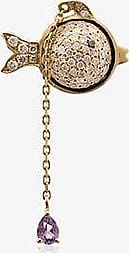 Yvonne Léon Womens 18k Yellow Gold And Pink Hanging Diamond Fish Earring