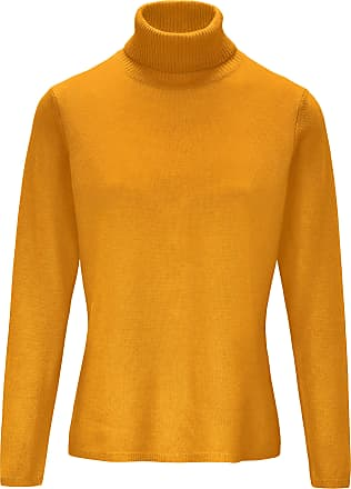 include Roll-neck jumper in pure new wool and cashmere include yellow