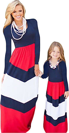 YOUJIA Family Clothes Mother Daughter Long Sleeve Dress Kid Girls Long Maxi Dress for Beach Party, Red Blue 2XL (mom)