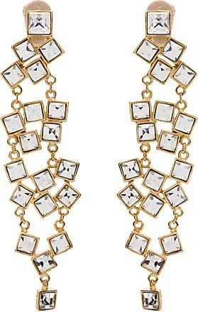 Kenneth Jay Lane Par de brincos pendentes com cristais - Dourado