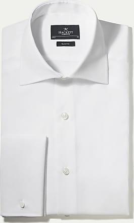 Hackett Mens Poplin Slim Double Cuff Cotton Shirt | Size 180 | White