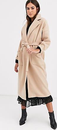 Vila oversized wrap coat in camel-Beige