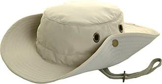 Hawkins Mens Lightweight Wide Brim Aussie Sun Hat Hidden Pocket Beige Size M 58cm