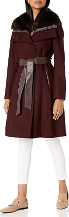 French Connection Womens Faux-Fur Collar Detachable Bib Wool Coat, Red Wine, Medium