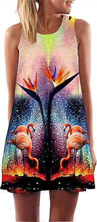Ocean Plus Womens Sleeveless Vintage Boho Beach Dress Sundress Tank Tops Beach Dress Round Neck Short A Line Shirt Dress Blouse Dress (XXL (UK 14-16), Bird of Pa