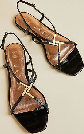 Ted Baker Embossed Croc Effect Flat Sandals in Black LERINNA, Womens Accessories