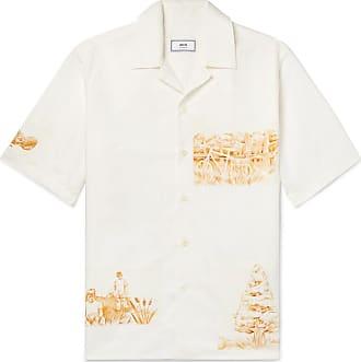 Ami Camp-collar Appliquéd Cotton, Linen And Ramie-blend Shirt - Off-white