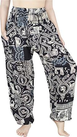 Lofbaz Womens Smocked Waist Floral Rayon Yoga Boho Patch Harem Pants - Black - OS
