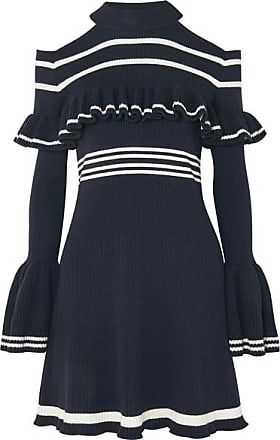 Self Portrait Cold-shoulder Ruffled Striped Ribbed-knit Mini Dress - Navy
