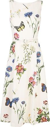 Oscar De La Renta floral print belted dress - White