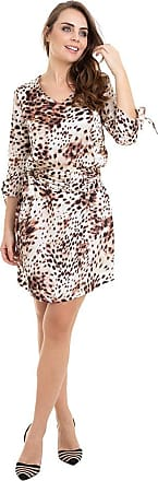 Kinara Vestido Cetim Estampado com Cinto-P