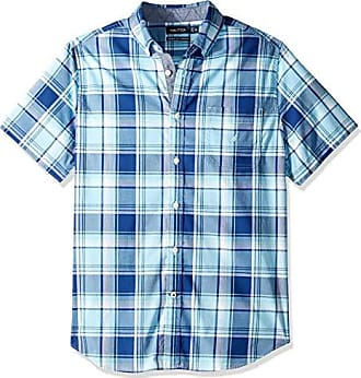 694be7b7 Nautica Mens Classic Fit Short Sleeve Stretch Plaid Button Down Shirt,  Alaskan Blue X-