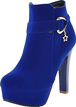blaue stiefeletten mit blockabsatz