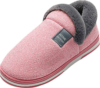 Yvelands TEELONG Womens Slippers Boots Comfortable Indoor Outdoor Snow Boots Faux Fur Warm Lined Slippers Fashion Stripe Print Garden Shoes Soft Flats Boots(Re