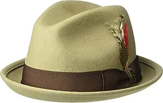 15e613e7a2bb0 Brixton Mens GAIN Short Brim Felt Fedora HAT, Light Khaki/Brown, S