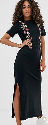 Asos Tall ASOS DESIGN Tall - Mit Blumen bedrucktes Midi-T-Shirt-Kleid-Schwarz