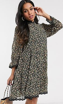 Y.A.S smock dress in blue floral-Stone