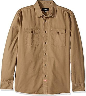 Brixton Mens Olson Relaxed Fit Long Sleeve Woven Shirt, Khaki, M