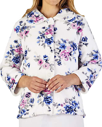 Slenderella Ladies 24/61cm Cream Blue & Pink Floral 260GSM Soft Thick Coral Fleece Collared Button Up Bed Jacket Small UK 10/12