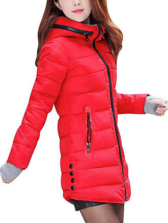 ZongSen Womens Long Down Coat Hooded Ultralight Packable Jacket Warm Coats Outwear Red XL