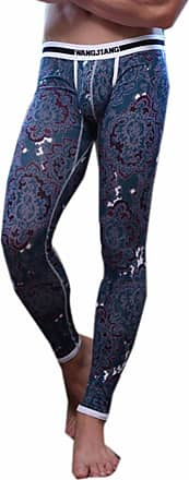 QIYUN.Z Mens Floral Printed Sport Tight Legging Warm Compression Tights Long Johns Low-Rise Underwear Thermal Bottom Trousers