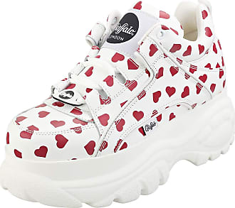 Buffalo London 1339-14 Womens White/Red Hearts Trainers-UK 6.5 / EU 40