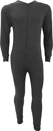 Generic MENS THERMAL ALL IN ONE JUMPSUIT DOUBLE ZIP FRONT FASTENING BODYSUIT PLAYSUIT SKI SNOW SPORT ACTIVE WARM WINTER BASELAYER UNDERWEAR[Charcoal Grey,XXL]