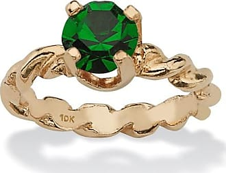 PalmBeach Jewelry Round Birthstone 10k Gold Baby Ring Charm - May- Simulated Emerald