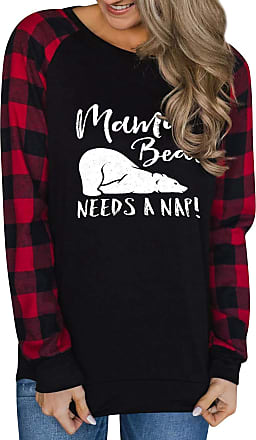 Dresswel Womens Long Sleeve Tops Mama Bear Needs A Nap Sweatshirt Plaid Color Block Pullover Jumpers Black