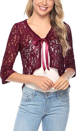 Aibrou Women Half Sleeve Cropped Bolero Shrug with Floral Lace Open Front Bolero Cardigan Red Wine