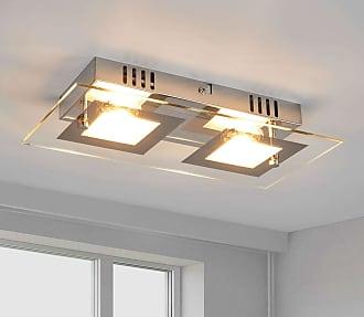 Lindby Foco de techo LED con dos llamas Manja, cromo